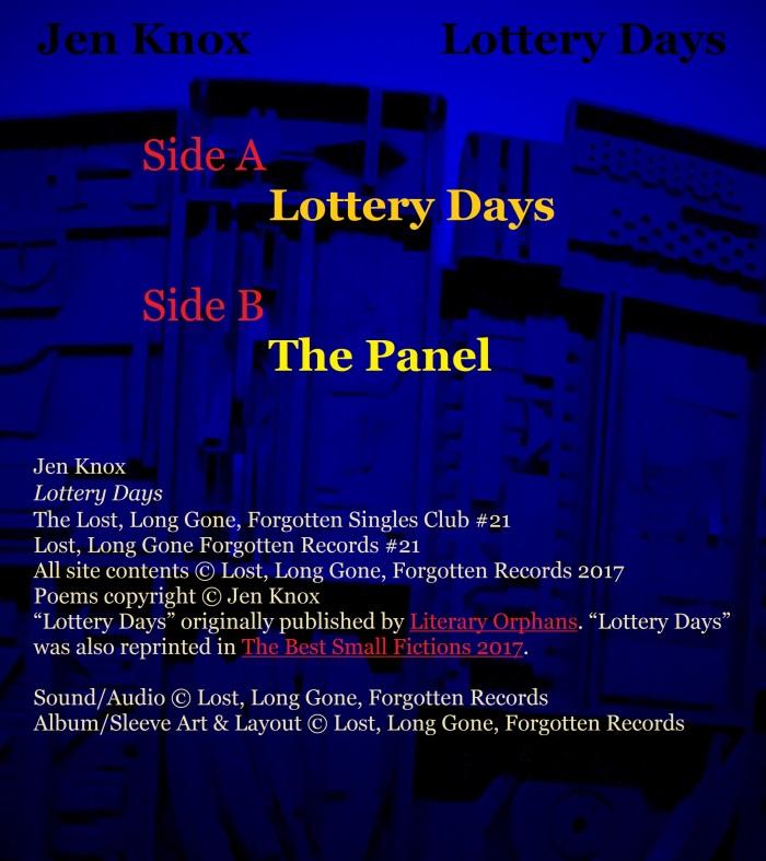 Jen Knox, Lottery Days, back cover